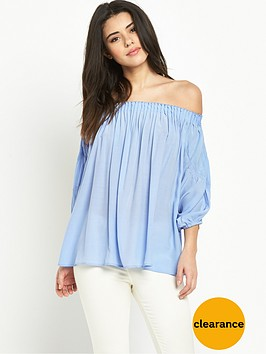 warehouse-off-shoulder-blouson-sleeve-top