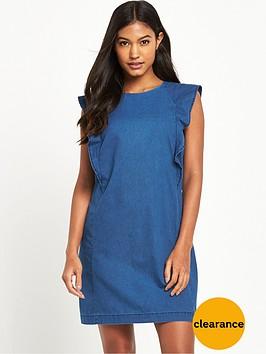 warehouse-ruffle-sleeve-shift-dress