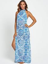 Printed Sheer Beach Maxi Dress