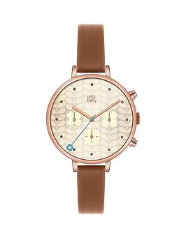 orla-kiely-orla-kiely-ivy-rose-gold-coloured-case-flower-chronograph-tan-leather-strap-ladies-watch