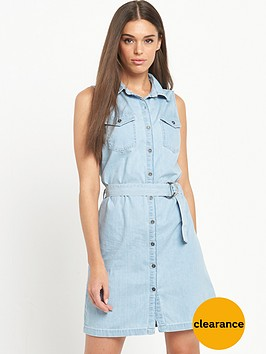 miss-selfridge-sleeveless-bleach-belted-tencel-shirt-dress
