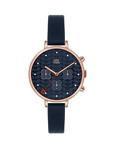 orla-kiely-orla-kiely-ivy-rose-gold-coloured-case-flower-chronograph-navy-leather-strap-ladies-watch