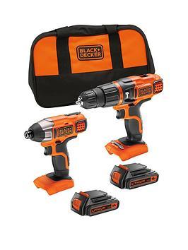 black-decker-bdchim18b-gb-18v-lithium-ion-twin-pack-kit-contains-18v-hammer-drill-18v-impact-driver-2-x-15ah-batteries-1-x-charger-softbag