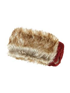 superdry-cable-knit-faux-fur-headband-rust
