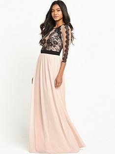 little-mistress-three-quarter-sleeve-lace-mesh-maxi-dress