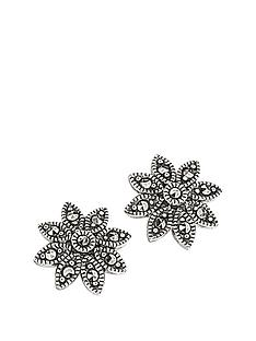 elements-sterling-silver-marcasite-daisy-stud-earrings