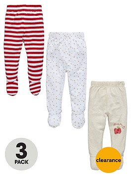 Ladybird Unisex Baby Stripe and Star Footed Leggings (3 Pack) | very.co.uk
