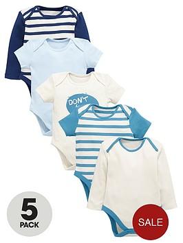 ladybird-baby-boys-stripe-and-slogan-bodysuits-5-pack