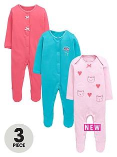 ladybird-baby-girls-3pk-cloud-and-kitten-motif-sleepsuits