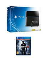 500Gb Black Console with Uncharted 4 - A Thief's End and Optional Extra DualShock Controller, 365 PSN Subscription
