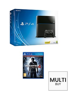 playstation-4-500gb-black-console-with-uncharted-4-a-thiefs-end-and-optional-extra-dualshock-controller-365-psn-subscription