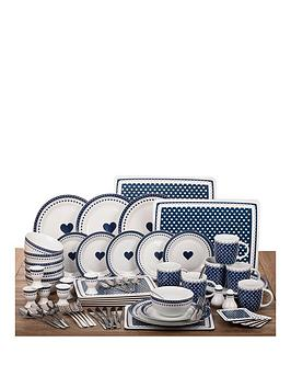 french-navy-blue-hearts-dining-set-ndash-70-piece-combo
