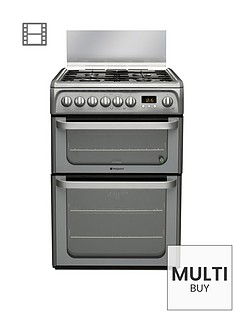 hotpoint-ultima-hud61gs-60cm-double-oven-dual-fuel-cooker-with-gas-hob-graphite