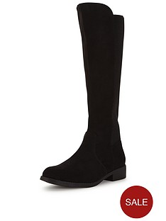 v-by-very-cecilanbspiminbspsuede-knee-high-elastic-flat-bootnbsp