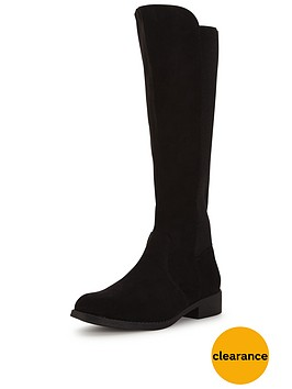 v-by-very-cecilanbspiminbspsuede-knee-high-elastic-flat-bootnbsp