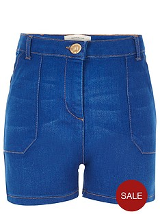 river-island-girls-blue-high-waisted-denim-shorts