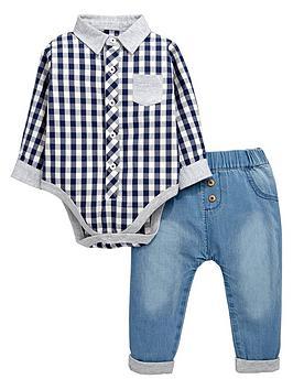 ladybird-baby-boys-check-shirt-bodysuit-and-elasticated-jeans-set-2-piece