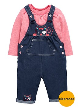 ladybird-baby-girls-denim-look-dungarees-and-long-sleeve-t-shirt-set-2-piece