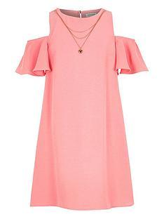 river-island-girls-pink-cold-shoulder-swing-dress