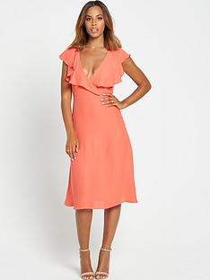 rochelle-humes-ruffle-front-midi-dress