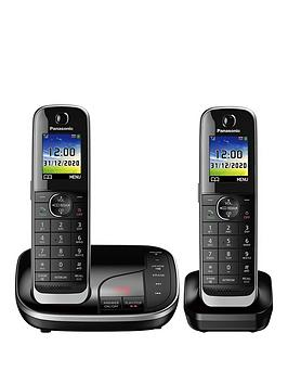 Panasonic Kx-Tgj322Eb Twin Cordless Telephone With Answering Machine - Black
