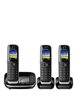 Panasonic Kx-Tgj323Eb Trio Cordless Telephone With Answering Machine - Black