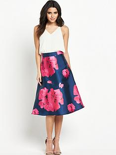 ax-paris-strappy-dress-with-plain-top-and-printed-skirt