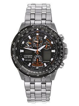 Citizen Eco-Drive Skyhawk A.T. Titanium Radio-Controlled Multi-Function Bracelet Mens Watch