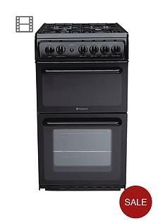 hotpoint-hag51k-50-cm-twin-cavity-gas-cooker-black