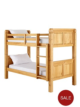 kidspace-corona-solid-pine-bunk-bed-frame-with-optional-mattress