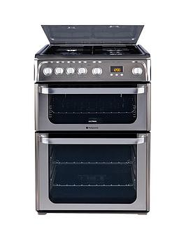 Hotpoint HUG61X 60cm Double Oven Gas Cooker - Stainless Steel