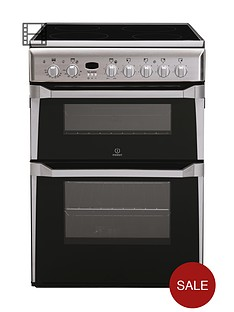 indesit id60c2xs 60cm double oven electric cooker with ceramic hob stainless steel