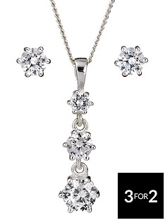the-love-silver-collection-sterling-silver-cubic-zirconia-3-stone-pendant-and-earrings-set