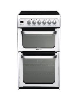 hotpoint-ultima-hue52ps-50cm-double-oven-electric-cooker-with-ceramic-hob-white
