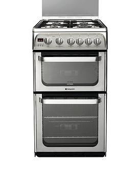 hotpoint-ultima-hug52x-50cm-double-oven-gas-cooker-with-fsd-stainless-steel