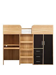 kidspace-ohio-mid-sleeper-bed-desk-drawers-and-wardrobe-black-pink
