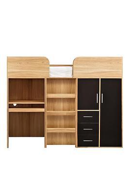 Kidspace Ohio Mid-Sleeper Bed + Desk, Drawers and Wardrobe ...