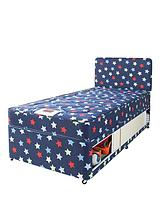 Kids Stars and Butterflies Single Storage Divan with FREE Headboard