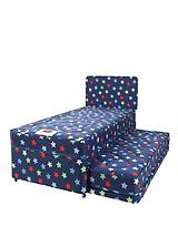 Kids Stars and Butterflies Single Divan with Trundle Guest Bed and FREE Headboard