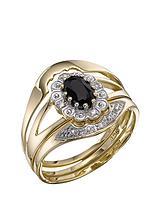 9 Carat Yellow Gold Sapphire and Diamond Bridal Set