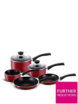 tefal-5-piece-aluminum-bistro-pan-set-red