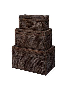 set-of-3-arrow-weave-wicker-storage-chests-chocolate