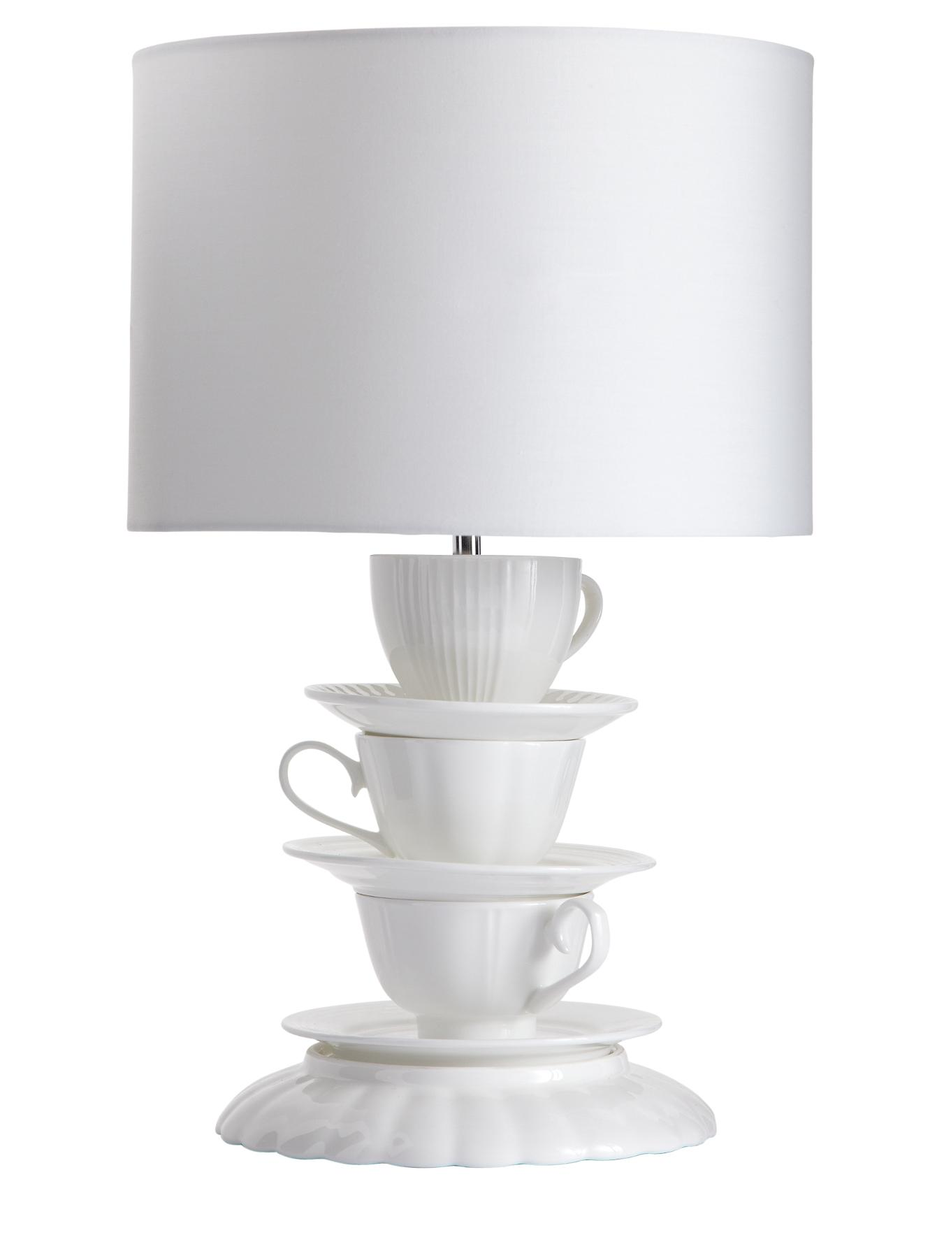 Daisy Teacup Table Lamp - White