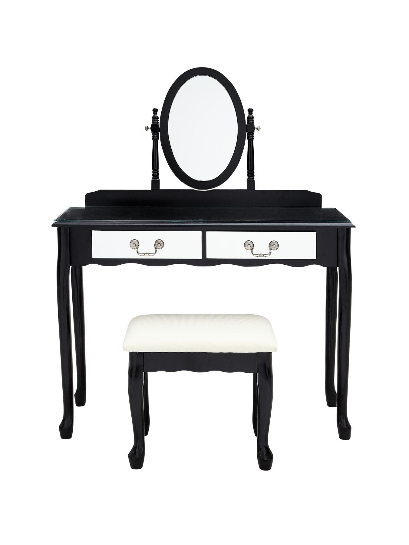 Elysee Mirrored Front Dressing Table and Stool - Black, Black,Ivory