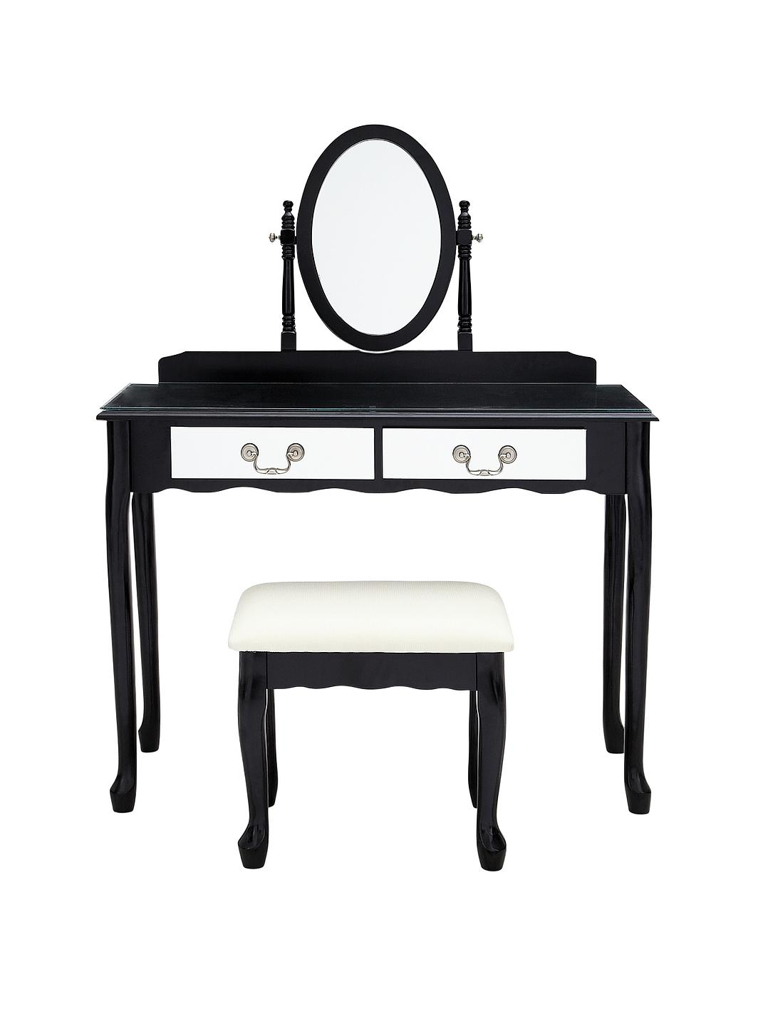 Mirrored Vanity Table And Stool: Elysee Mirrored Front Dressing Table And Stool