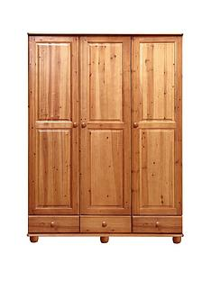 stanton-solid-pine-3-door-3-drawer-wardrobe