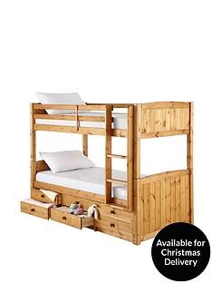 kidspace-georgie-solid-pine-bunk-bed-frame-with-storage