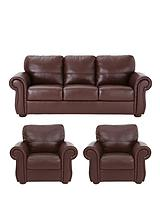 Cassina Italian Leather 3-Seater Sofa plus 2 Armchairs (buy and SAVE!)