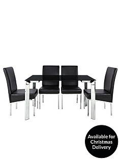 matrix-122-cm-glass-and-chrome-dining-table-4-chairs-black