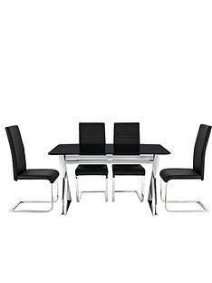 black-cross-frame-dining-table-and-4-jet-chairs